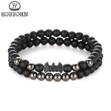 HOBBORN Trendy Couple Natural Stone Bracelet Set Matte Black Onyx Beads Micro-Inlaid Zircon Batman Women Men Healing Bracelets