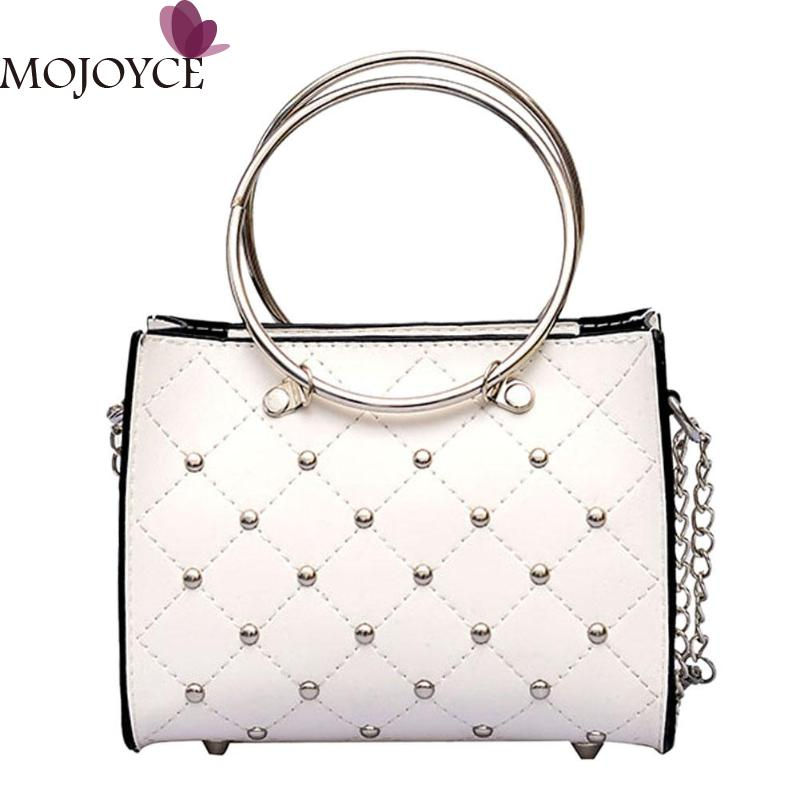 Mini Shoulder Bag Strap Women Leather Handbag Crossbody Bag For Ladies  Casual Purse Rivets Chain Round 23b7413ee2520