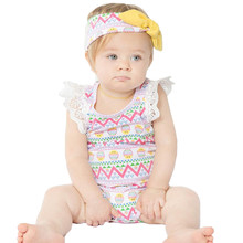 Newborn Girl Baby Chicks Easter Romper Headband Outfit Set