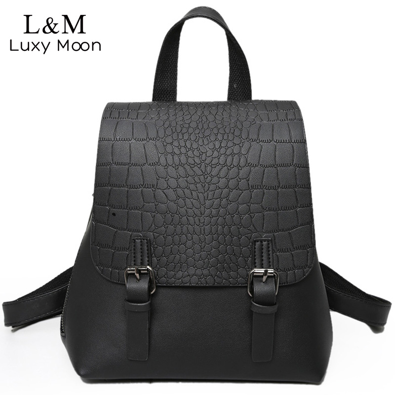 LUXY MOON Women Backpack Alligator Backpacks Grey PU Leather Bag Teenage Girls School Bags Vintage Ethnic