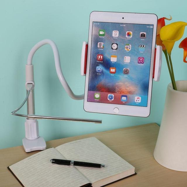 4-em-1 multifunções Tablet PC Telefone Celular Stand Holder Clip-On Bracket Mount Holder com Banco De Potência LEVOU Luz