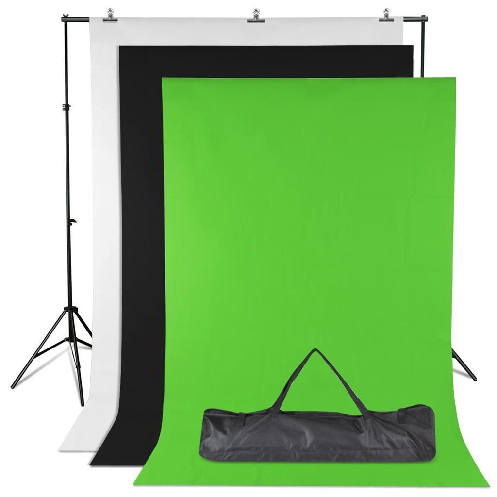 10ft Adjustable Background Support Stand + White Black Green Photo Backdrop Photography