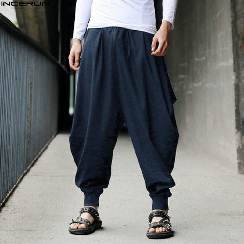 INCERUN, мужские шаровары, мешковатые штаны, мужские, Хакама, льняные, повседневные, широкие, мужские, s штаны, японские брюки, мужские штаны, штаны с промежностью, 5XL - Цвет: Navy