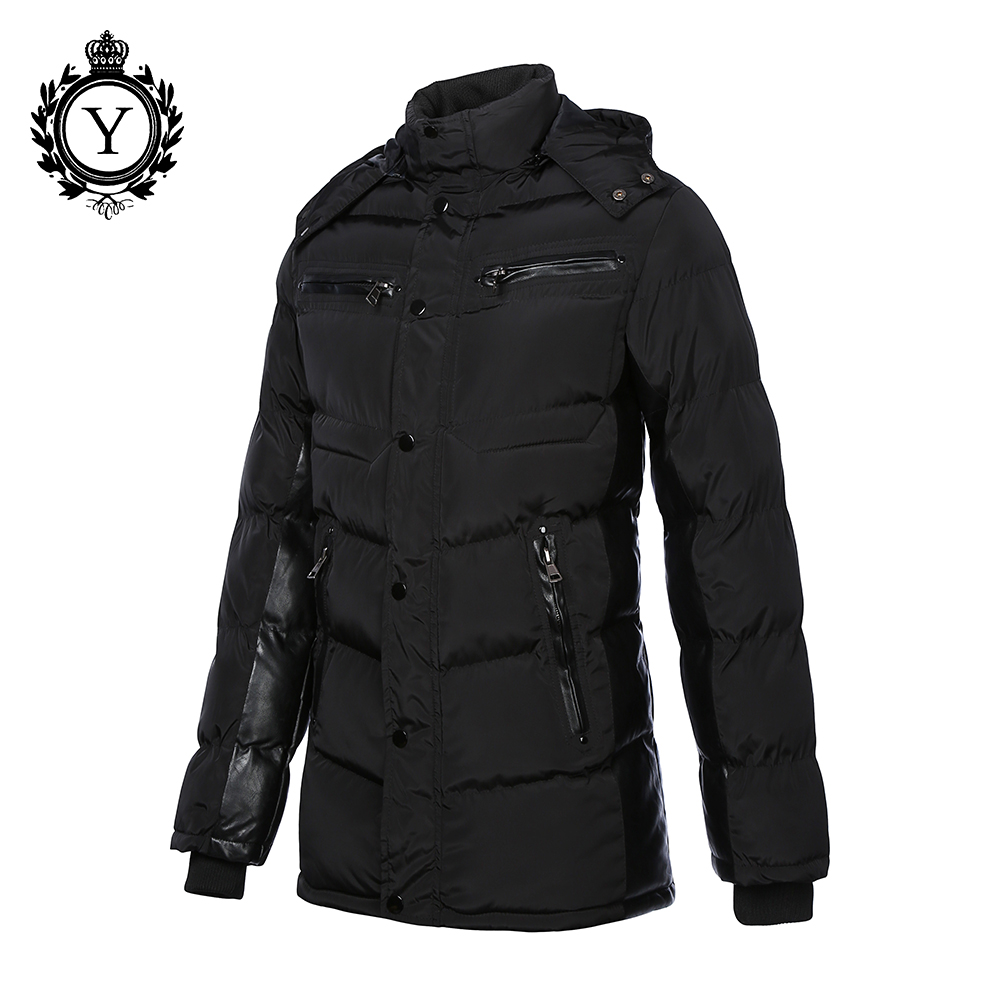 COUTUDI 2017 Men's Winter Jacket Coats Solid Black Male Jackets Thick Warm Long Down Jacket Cotton Padded Parkas Outwear Coat boys cotton clothing 2018 winter new children long sleeve jacket cotton padded coat long down jacket thick winter warm coats