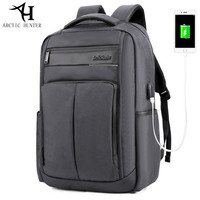 ARCTIC HUNTER USB Port Computer Backpacks Male Waterproof Nylon PU Bag Man Busines Dayback Women Casual