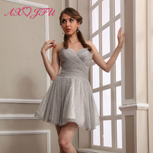 AXJFU luxury grey princess short strapless evening dress