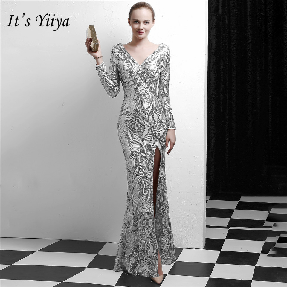 It's Yiiya Muslim   Evening     dress   Long sleeve Zipper back Party Gowns Floor-length Sequined Golden Sliver Black Prom   dresses   C103