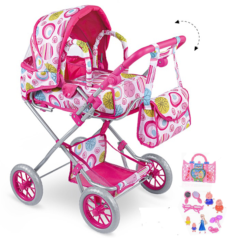 Simulation Baby Toy Simulation Play Toy Girl Kids Children Pretend Play Furniture Toys Baby Doll Stroller Pram Pushchair Gift Four Wheels Stroller