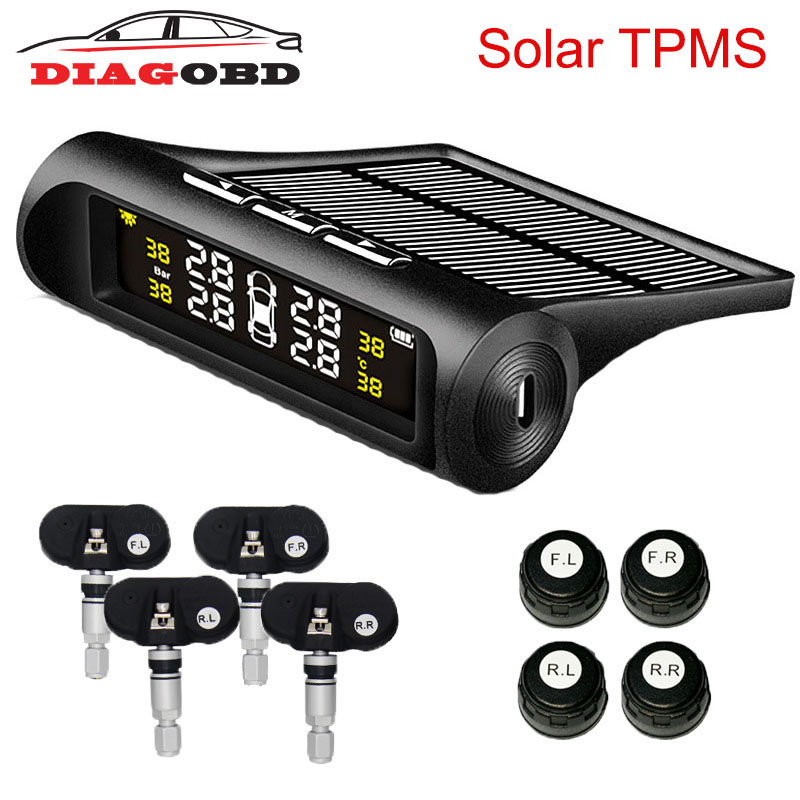 car solar tpms tire pressure monitor wireless tire pressure monitoring alarm system lcd color display internal external sensor Solar TPMS Car Tire Pressure Alarm Monitor System LCD Display 4 Internal / External Sensor Temperature Warning