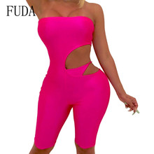 FUDA Hollow Out Sexy Strapless Sleeveless Playsuits Women Off Shoulder Bodycon Bandage Hole Jumpsuits Summer Party Overalls