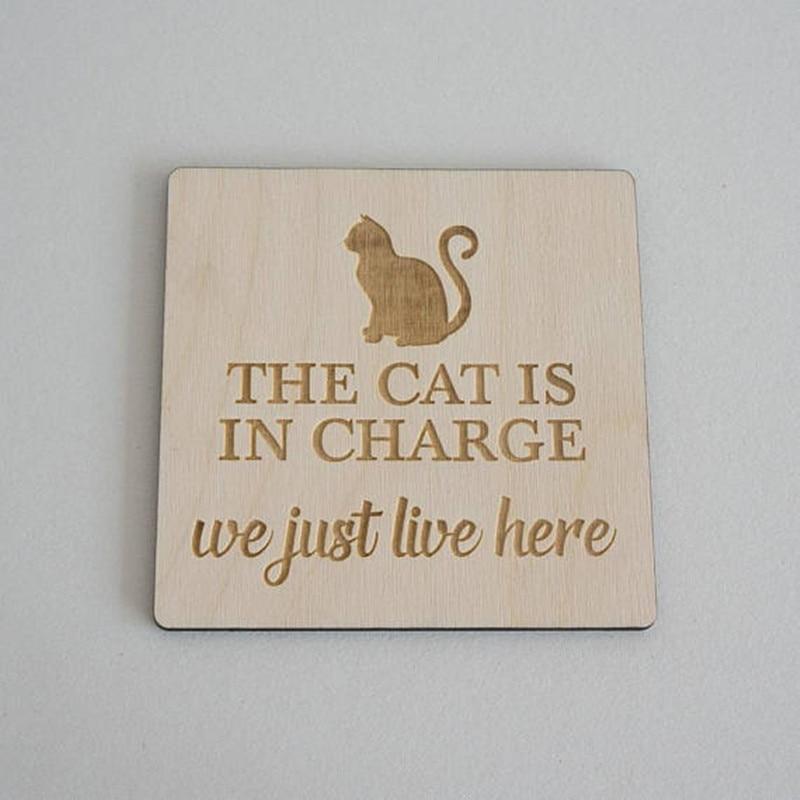 Милый кот письмо деревянные украшения дома висят знаки натуральный деревянными лазерной гравировкой ремесел вечерние Dector подарок украшен...