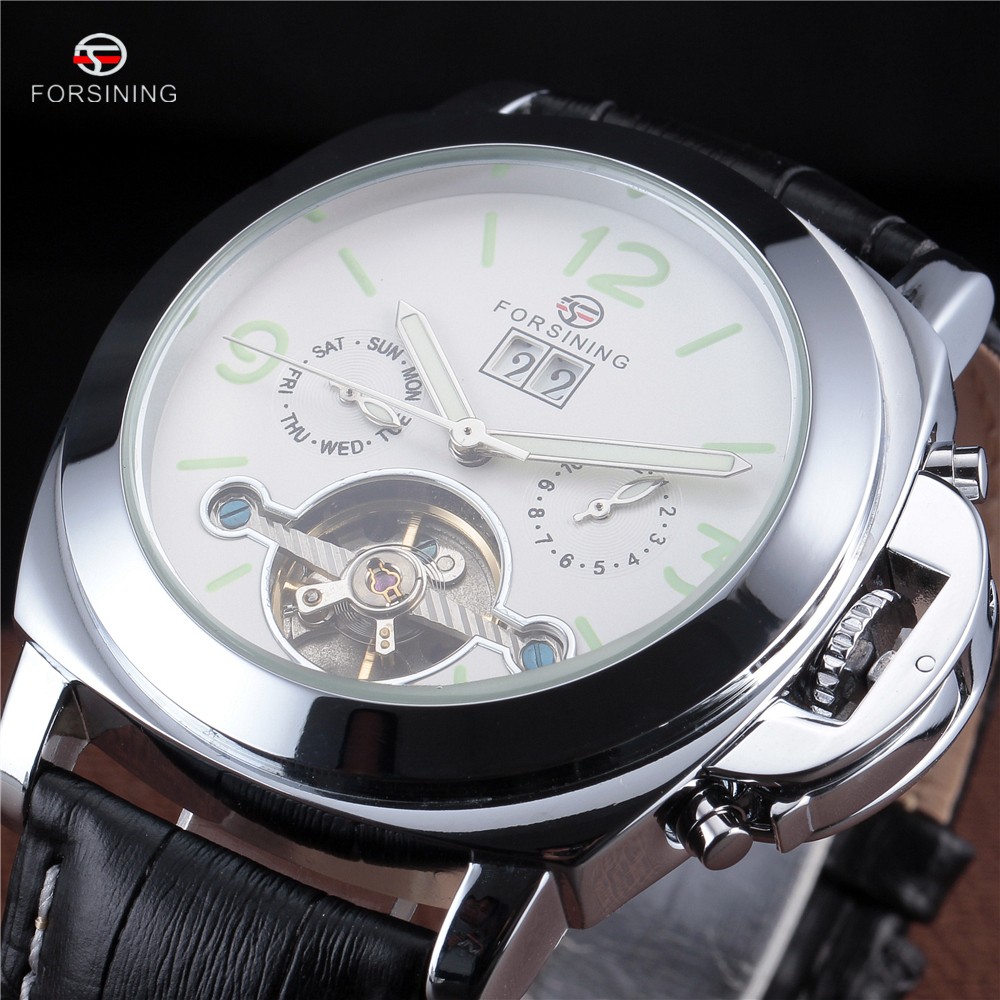 FORSINING Luxury Sport Watch Men Leather Strap Automatic Skeleton Mechanical Wristwatch Fashion Casual Silver Tourbillon Clock forsining men s watch vogue skeleton mechanical leather analog classic wristwatch color silver fsg8090m3