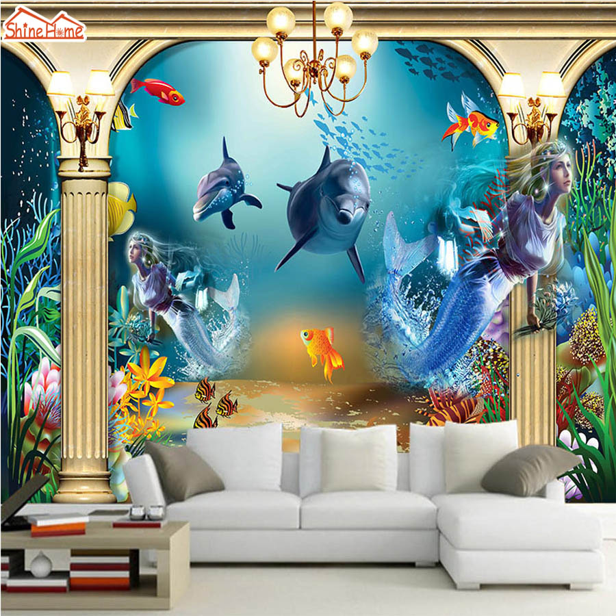 ShineHome-Cool Mermaid Undersea Fishes Kids Cartoon Photo 3d Room Wallpaper Mural Rolls for Living Room Wall Paper Background shinehome rose bloom floral wallpaper for 3d rooms walls wallpapers for 3 d living room wall paper murals wallpaper mural roll