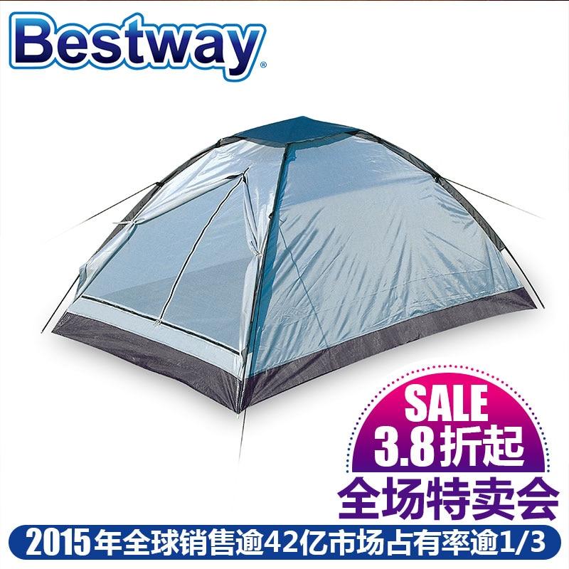 ФОТО Bestway home camping supplies double tent 67068 glass fiber support built-in account door -w1