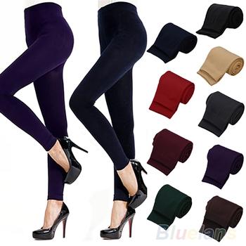 Jednolity kolor damskie stretch Thicken legginsy ciepłe Skinny spodnie Footless tanie i dobre opinie Kobiet Poliester spandex bawełna Połowie Długość kostki Grube 8831561 Stałe Sukno Casual