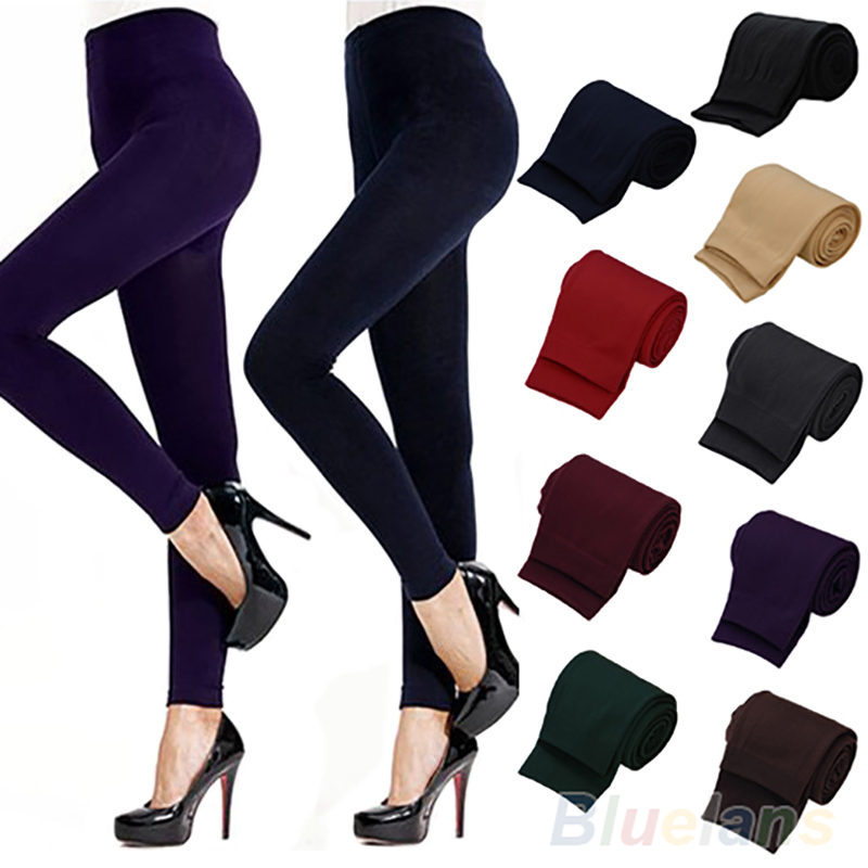 Solid Color Women's Stretch Thicken Leggings Warm Skinny Pants Footless