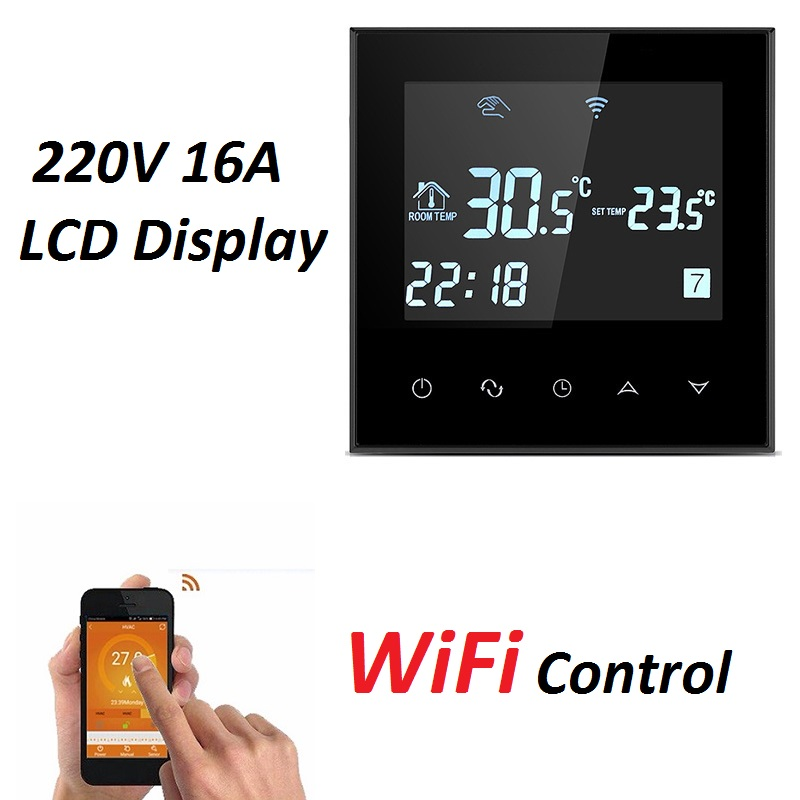 KETOTEK Underfloor Heating Thermostats Digital Programmable Room Thermostat LCD Touch Screen Electric Heating Temperature Controller with Floor Sensor Probe