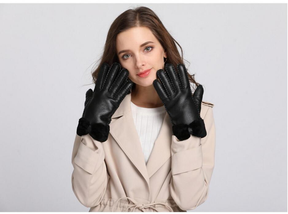 Apparel Accessories Useful 2019genuine Fur Womens Gloves Winter Gloves Female Real Leather Gloves Thickened Mittens Ski Waterproof Gloves With Bowknot