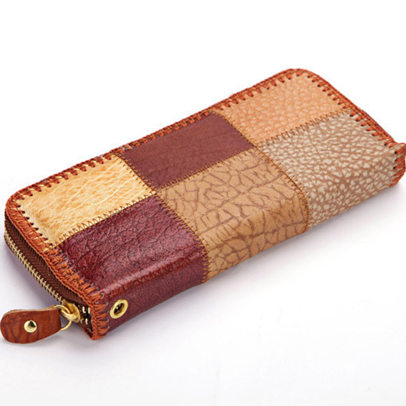New 2018 Luxury Vintage Brand Women Long Cow Leather Plaid Wallet Female Clutch Ladies Phone Purse Coin Credit Card Holder