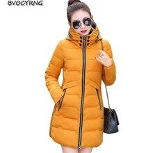 New Korea 2017 Plus Size Winter Jacket Feather Medium Long Winter Thick Coat Slim Fashion Down Cotton Warm Hooded Parka A0031