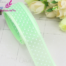 Lucia crafts 5y/12y Dot Printed Organza Lace Ribbon DIY Craft Girl  Bow Garment Sewing Accessories P0205