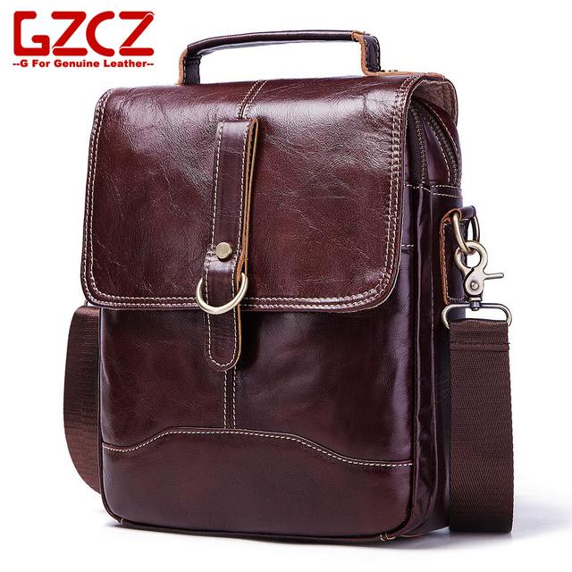 portafolio unisex GZCZ bolsos de mensajero de cuero genuino para hombre y mujer bolsos casuales bandolera bolso de hombro marrón para hombre sacoche homme