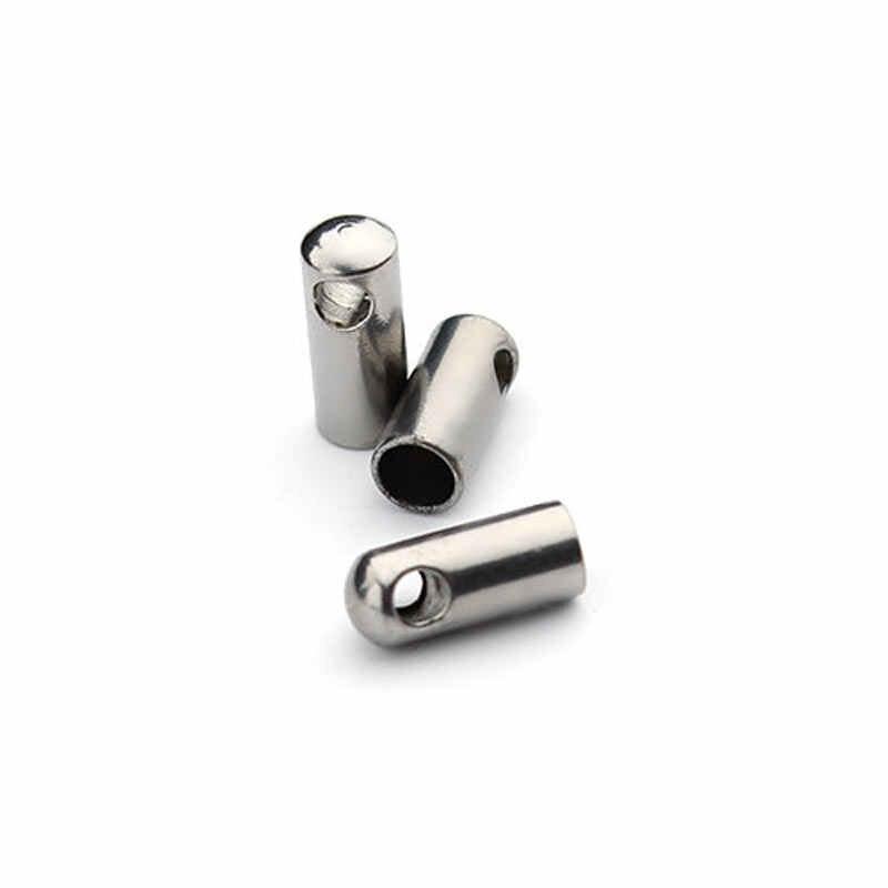 30 pz/lotto Rotonda In Acciaio Inossidabile Crimp Catenacci Cord End Caps Misura per 1.5/2/2.5/3/3.5/4/4.5mm Cordoncino di Cuoio Risultati Dei Monili F2206