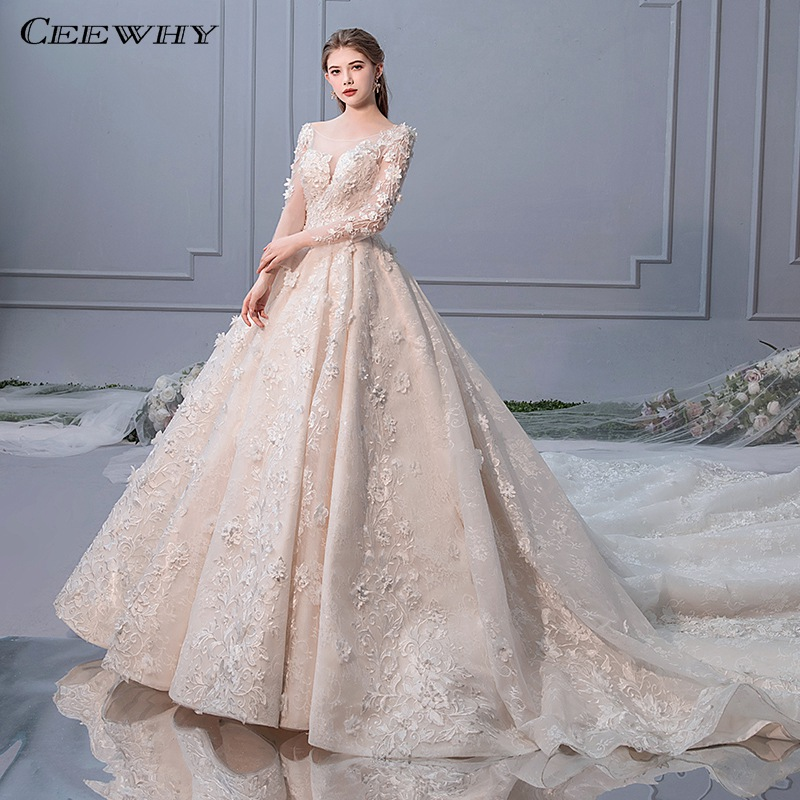 CEEWHY Lace Appliques Luxury Wedding Dress with Long Train Muslim Wedding Dress Long Sleeve Champagne Wedding Gown Robe Mariee