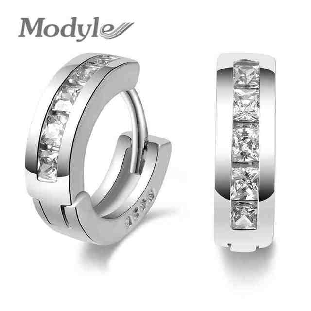 Modyle New Design Silver-color Charm Austrian Crystal Hoop Earrings Shiny Rhinestone Delicate Earring Jewelry