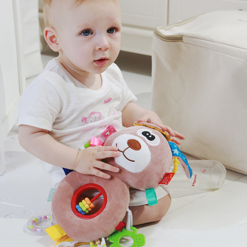 Baby Plush Rattles Cartoon Bear Cow Animal Mobiles Toys Infant Stroller Hanging Mobile Rattles Newborn Toys With Teether