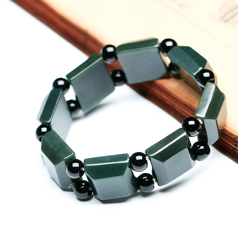 DropShipping Natural XinJiang HeTian Qing Jade Bracelets Lucky Amulet Square Bracelet bangles For Women Men Gift in Bracelets Bangles from Jewelry Accessories