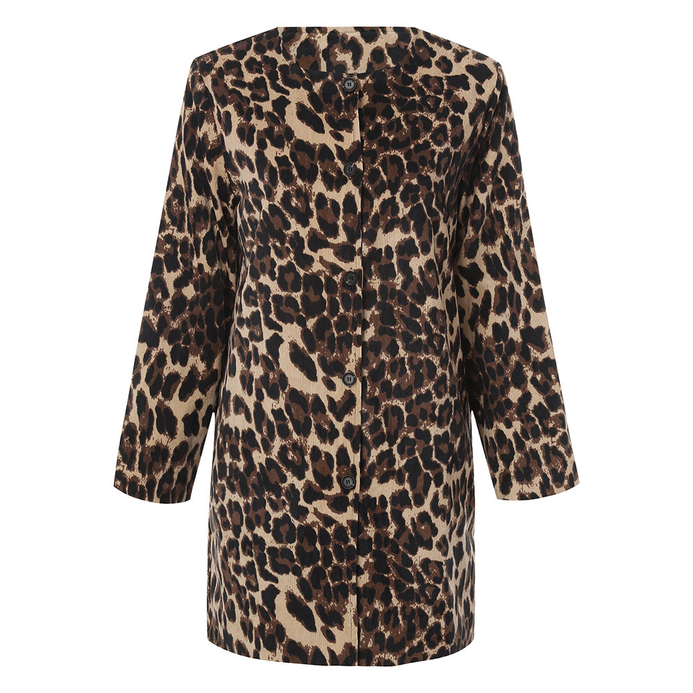 Women Leopard Sexy Winter Warm New Wind Coat Cardigan Leopard Print Long Coats for women 2018 casual outwear chaqueta mujer fishtail braid with hair accessory
