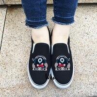 Wen Black White Slip On Sneakers Single Eyed Tiny Monster Music DJ Original Design Canvas Unisex