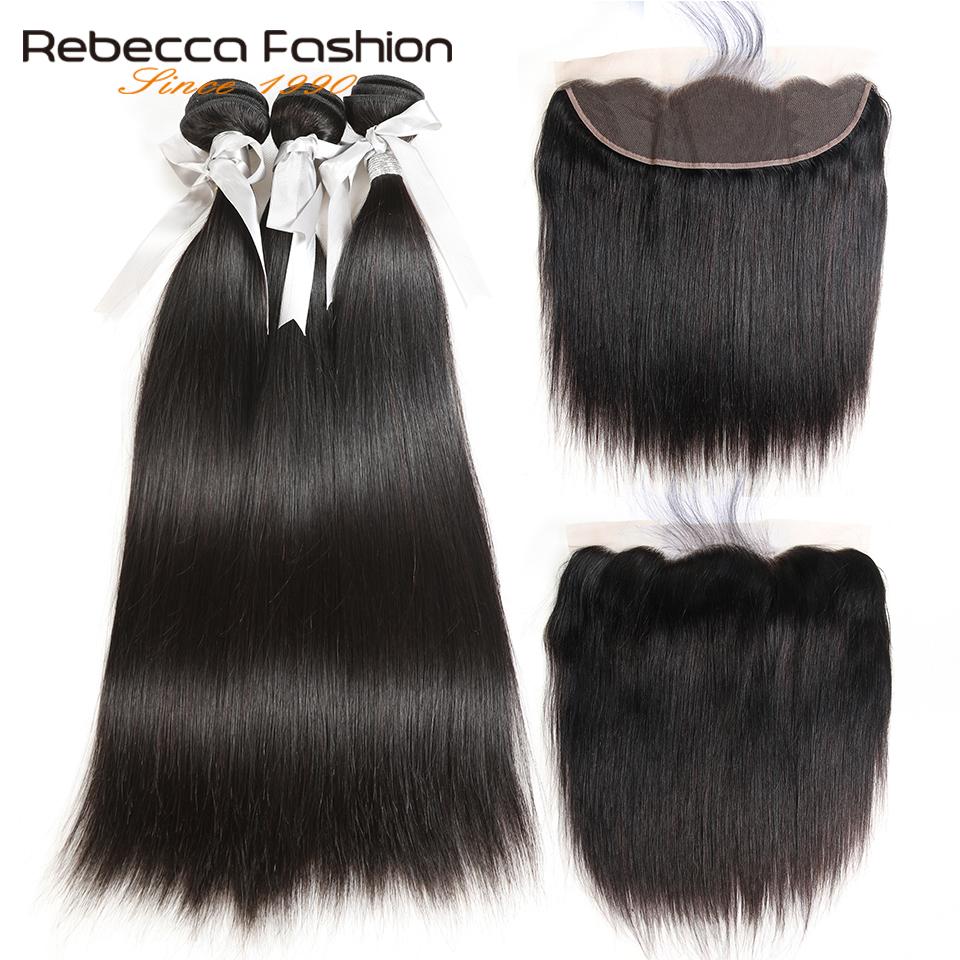 Rebecca Hair Lace Frontal Closure With Bundles Non Remy Brazilian Straight Human Hair Weave 3 Bundles With 13x4 Lace Frontal