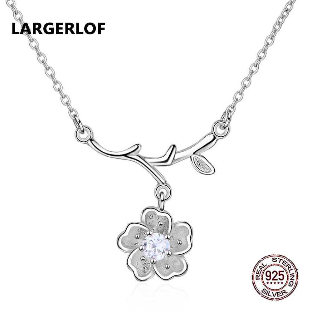 LARGERLOF 925 Sterling Silver Pendant Necklace Women Fine Jewelry Zircon Women Necklaces 925 Silver Pendant PD49129 ying vahine 925 sterling silver jewelry shiny stars pendant necklace