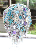 Bride holding flowers purple blue,brooch bouquet Handmade droplets teardrop jewelry bouquet Wedding decoration