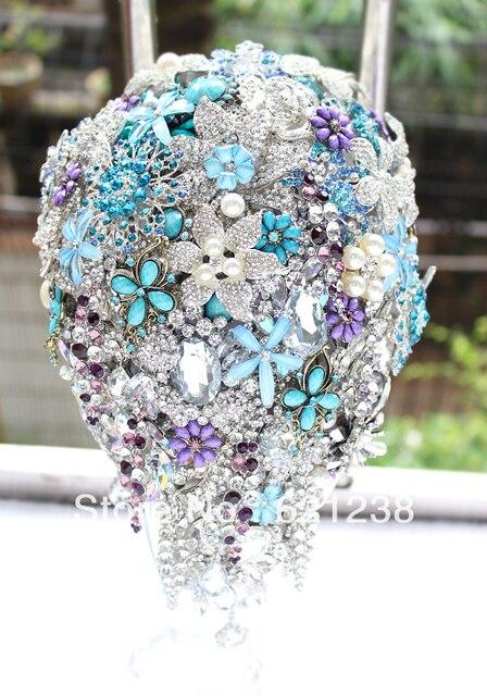 Bride holding flowers purple bluebrooch bouquet Handmade droplets