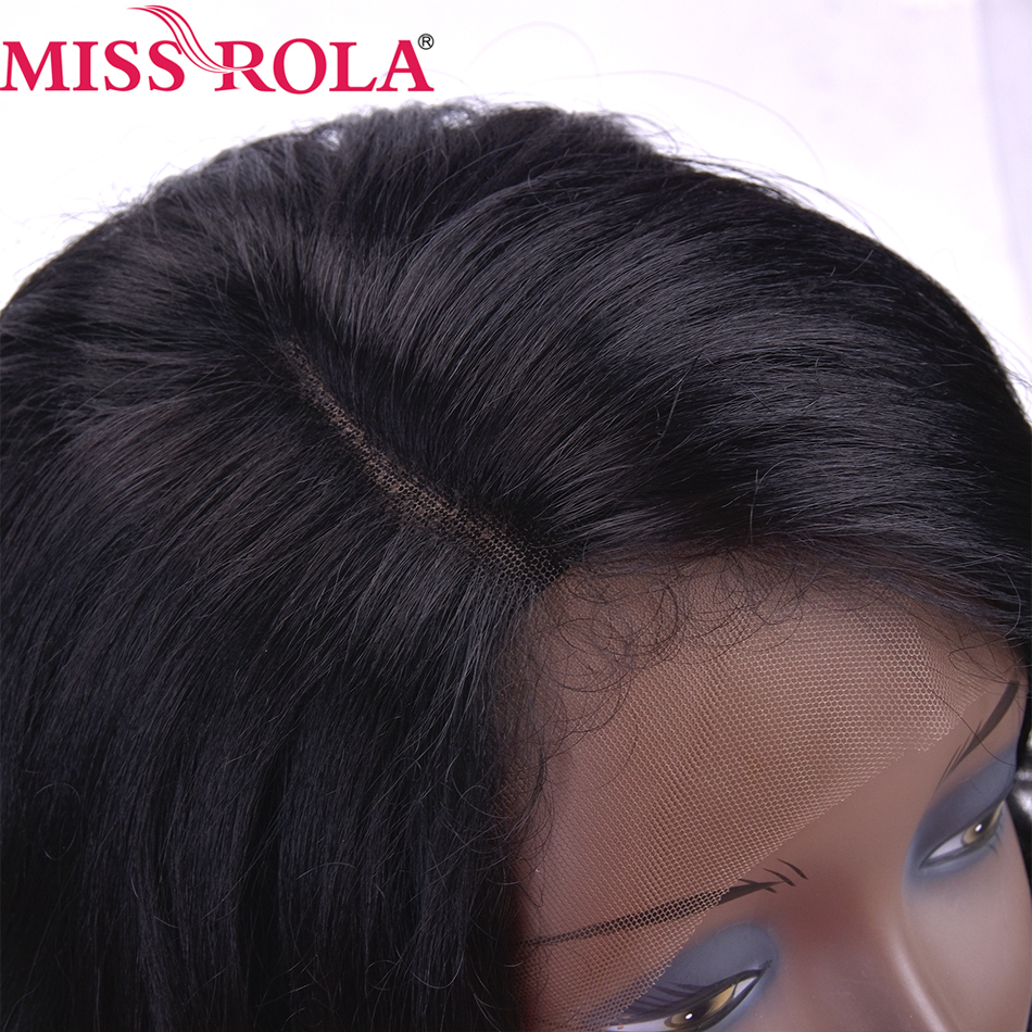 MISS ROLA Wigs for Black Women Swiss Lace Kanekalon Loose Wave Middle Length Lace Front Wig Synthetic 18 Inch 1B# color