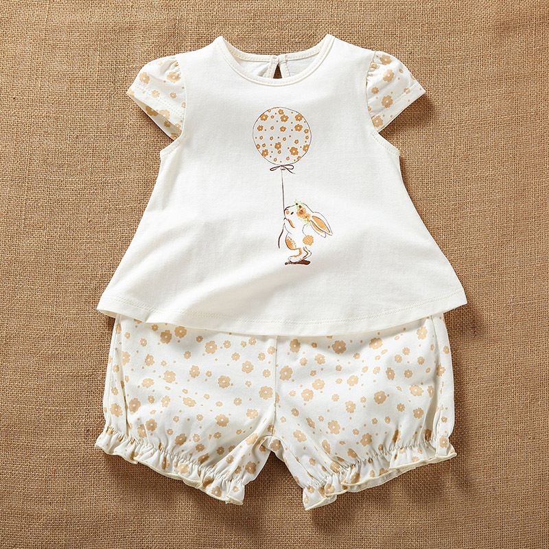Newborn Baby Girl Summer Organic Cotton Short Sleeve Sets Clothes Infant Baby Casual Printing Shirt Tops+Shorts Outfits Clothing 2pcs children outfit clothes kids baby girl off shoulder cotton ruffled sleeve tops striped t shirt blue denim jeans sunsuit set