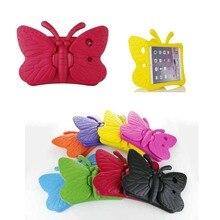 3D Mariposa Niños Caso para 9.7 pulgadas del iPad de Apple 2/3/4 EVA A Prueba de Golpes Funda tapa con Mango Niños Lindos Arabasta rosa azul