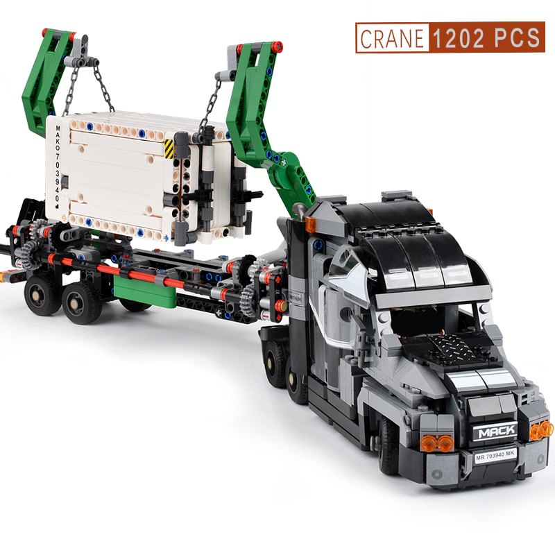 1202+PCS Container Truck Model Block Vehicles Car Building Blocks Technic Car DIY Bricks Educational Toys for Children Gift-in Blocks from Toys & Hobbies    3