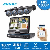ANNKE 4CH 1080P HD CCTV Security System 10 1inch LCD Monitor 3IN1 DVR 2 0MP Surveillance