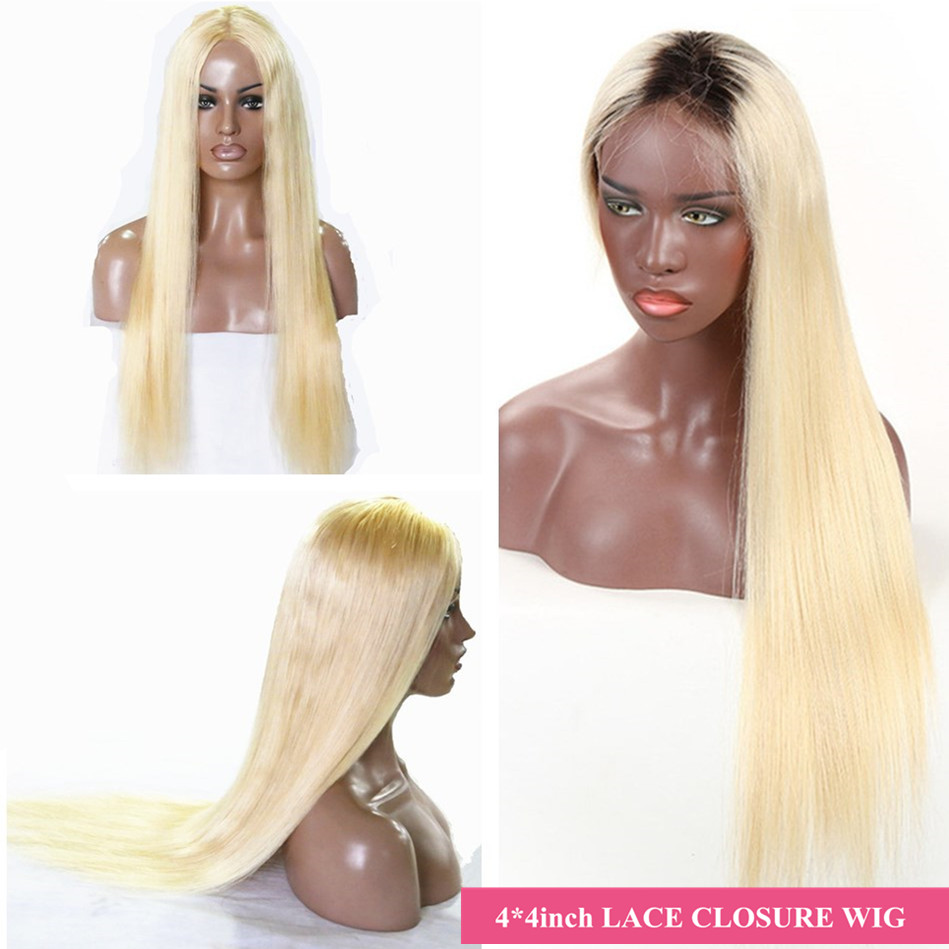 4 4 Lace Closure Wig T1B 613 Blonde Lace Front Human Hair Wigs Plucked Ombre Color