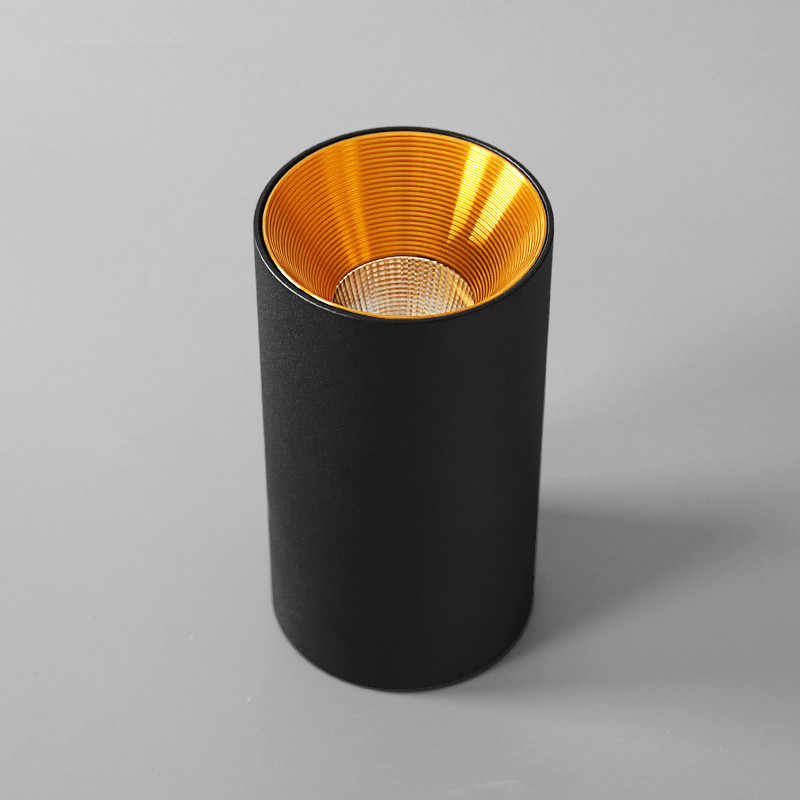 Поверхностный монтаж цилиндрический светодиодный светильник COB вниз Золотой отражатель 7 Вт 10 Вт 12 Вт светодиодный потолочный светильник Точечный светильник светодиодный светильник