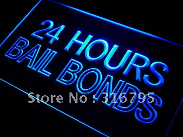 i461 Bail Bonds 24 Hours LED Neon Light Sign On/Off Switch 20+ Colors 5 Sizes