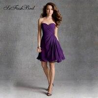 V Neck A Line Ruffle On Corset Waist Knee Length Bridesmaid Dresses