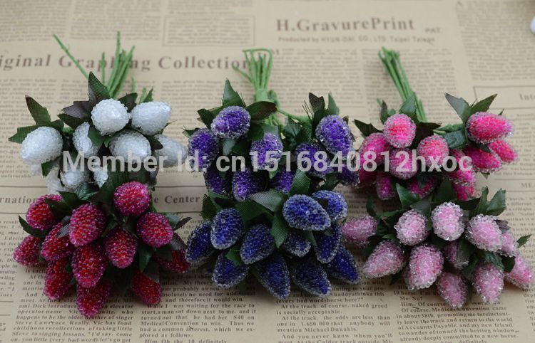 12pcs small glass berries artificial flower red cherry for Artificial pomegranate decoration