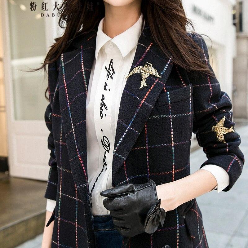D'origine 2018 marque veste femme automne hiver beau élégant oiseau broderie marine bleu plaid de laine manteau femmes gros