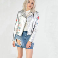 Autumn Winter New Women Motorcycle Jacket Silver Embroidered Rivet Casual Fashion Turn down Collar With Zipper Short Jacket Coat