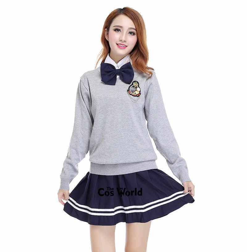 Аккуратный студенческий школьная форма Япония JK форма для средней школы Зимний серый свитер с v-образным вырезом темно-синяя юбка белая рубашка костюм